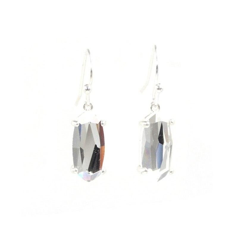 silver clear earrings
