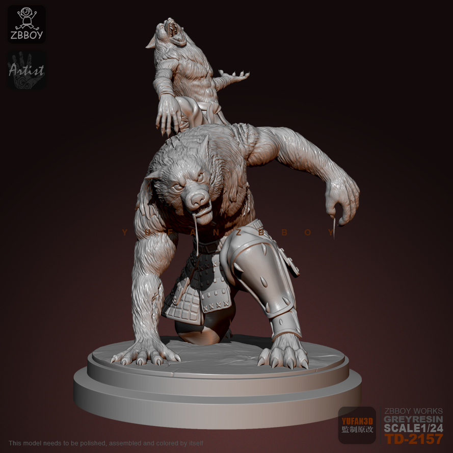 75MM Resin Figure Kits Werewolf Brothers Model Self-assembled TD-2157