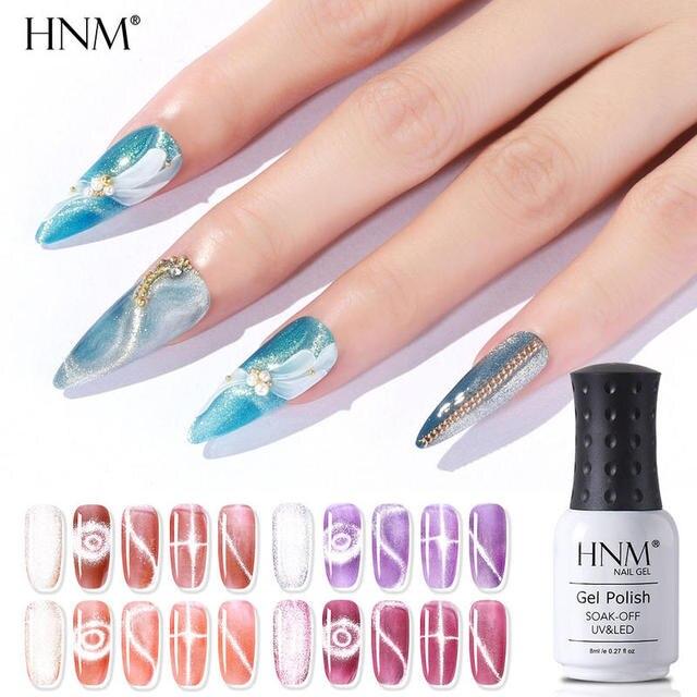 HNM Gel Polish Soak Off 3D Crystal Snowlight Cat Eye Nail Varnish Primer UV LED Gel Polish Salon Manicure 8ML