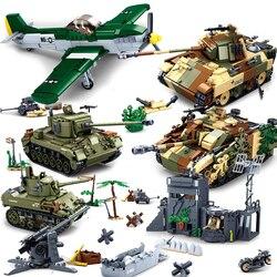 WW2 Normandy Landings UK US Germany Army Blocks Toys World War II 2 Military Vehicle Pershing Panther Tanks Compatible legoed