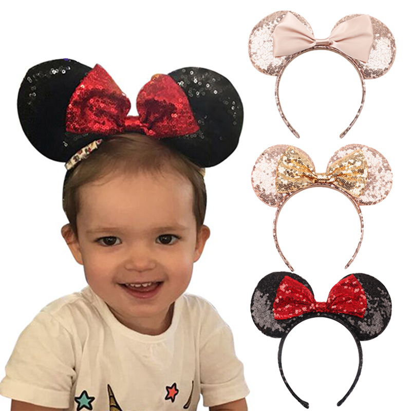 Pink Headbands For Kids MINNIE Sequins Hair MOUSE Girls Baby EARS Bowknot BLACK