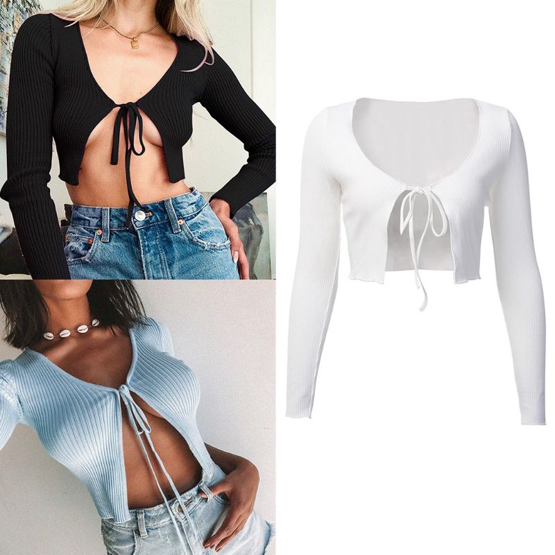 Women Long Sleeve Ribbed Knit Crop Top Solid Color Tie Knot Mini Sweater Cardigan Sexy Open Front Bodycon Bolero Shirts