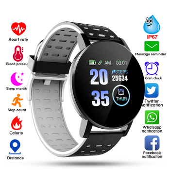 bounabay blood pressure smart bracelet watch for women watches ladies clock bluetooth waterproof android ios woman touch screen Digital Watch 119 Bluetooth Watch Men Blood Pressure Smartwatch Women Watch Sport Tracker WhatsApp For Android IOS Smart Clock