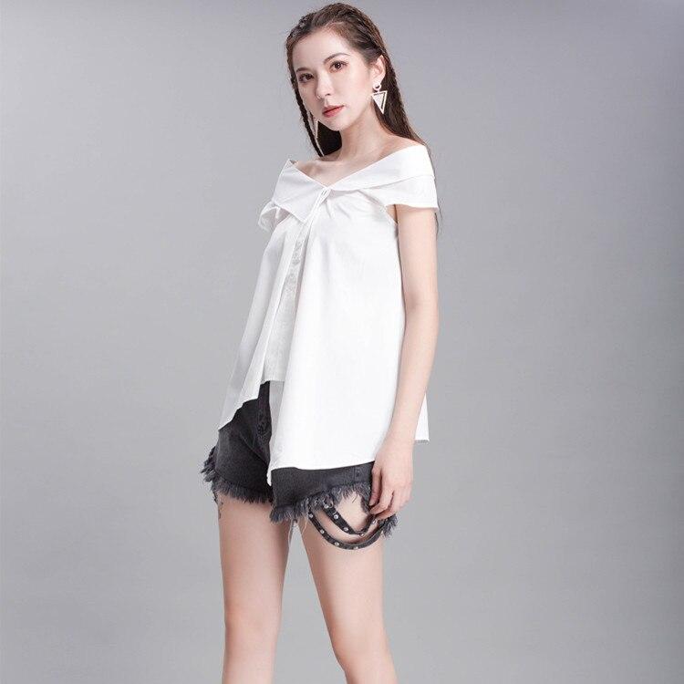 Blouse Summer Korean style bandage big bow irregular oblique shoulder shirt blouse collar blouse