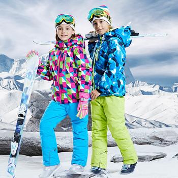 Dziecięcy kombinezon narciarski chłopcy dziewczęta zimowe sporty outdoorowe wodoodporne narciarstwo kurtki snowboardowe zestaw spodni śniegowych kombinezony zimowe dla dzieci tanie i dobre opinie Tringa Dobrze pasuje do rozmiaru wybierz swój normalny rozmiar CN (pochodzenie) 082102 GEOMETRIC POLIESTER