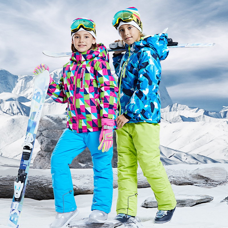Winter Kids Ski Suit Boys Girls Outdoor Sports Skiing Snowboarding Waterproof Jackets Pants Two Piece Clothes Snow Sports Suits