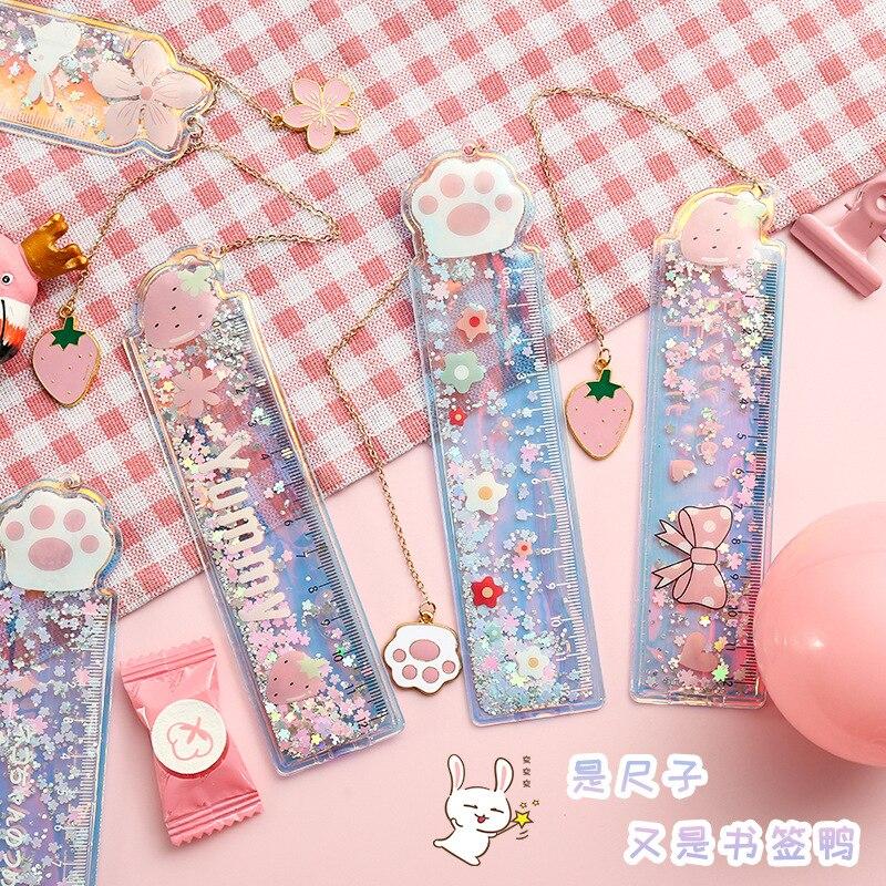 Creative Cartoon Ruler PVC Drawing Ruler Cute Girl Stationery Ruler Student Pendant Bookmarks Cute Study Supplies