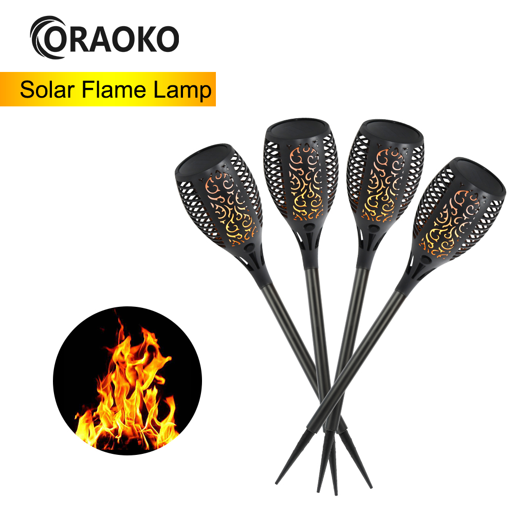 1/2/4pcs 33LED 96LED Solar Flame Lamp Flickering Outdoor IP65 Waterproof Landscape Yard Garden Yellow Light Path Lighting