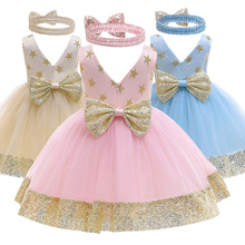 Vestido de encaje con lazo para niñas vestido de princesa 1 2 3 4 5th cumpleaños fiesta niños ropa bordado sin espalda niños vestido de boda