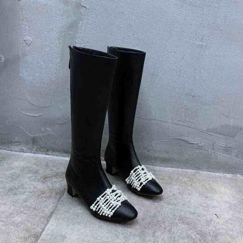 Krazing Pot sıcak moda inci boncuk hakiki deri çizmeler yuvarlak ayak med topuklar geri Zip kış sıcak uyluk yüksek çizmeler L61