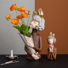 Home Decoration Resin Sculpture Statue Modern Art Girl Holding Roses Nordic Decoration Home Accessories Wedding Decoration Gift