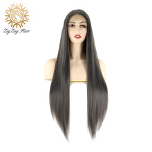 ZigZag Dark Grey Glueless Synthetic Lace Front Wigs for Women Straight Middle Part Smoke Gray Heat Resistant Fiber Cosplay Wig(China)