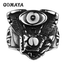 GOMAYA Stainless Steel Rings Evil Eye Personlity Biker Jewelry Man Punk Vintage Gothic Style  High Quality