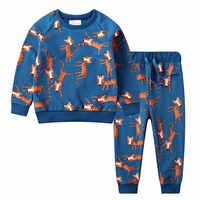 Saileroad crianças outono roupas do bebê meninos dos desenhos animados conjuntos de roupas gato bonito impresso quente sweatsets para o bebê meninos crianças roupas