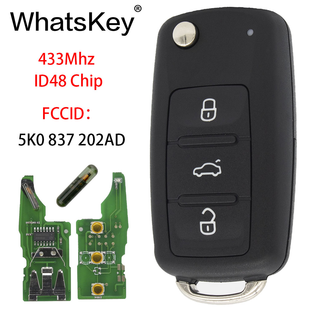 WhatsKey 3 Buttons Remote Key Fit For VW 5K0837202AD For Volkswagen Caddy Eos Golf Jetta Beetle Polo Up Tiguan 5K0 837 202 AD in Car Key from Automobiles Motorcycles