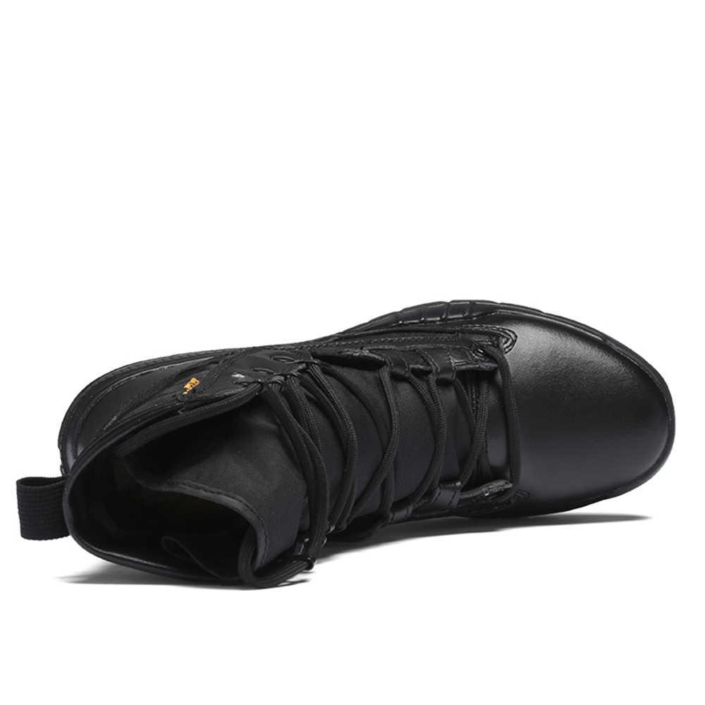 ยุทธวิธีทหารรองเท้าบุรุษทำงานความปลอดภัยรองเท้า Army Black Combat Boots Men รองเท้าทะเลทรายขนาดใหญ่ขนาด Combat Boots