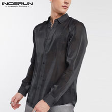 INCERUN Mode herren Hemd Partei Clubwear Transparent Revers Marke Tops Camisa 2020 Langarm Solide Mesh Sexy Shirts Plus größe(China)
