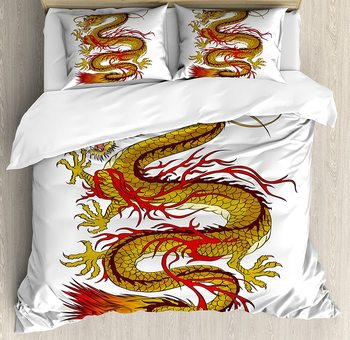 Japanese Dragon Duvet Cover Set Mythical Fiery Character Cultural 3 Piece Bedding Set Mustard Vermilion Brown