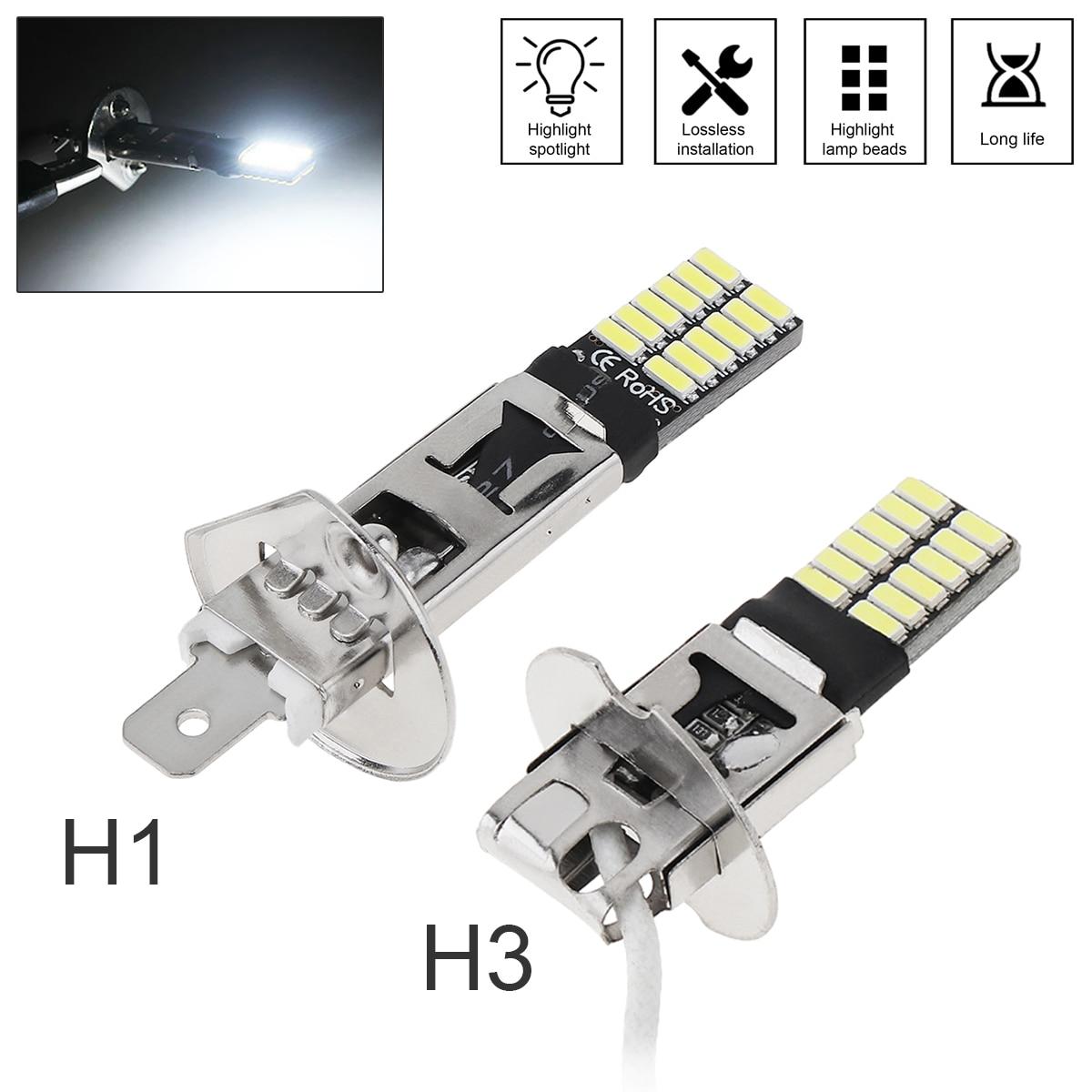Универсальная супер ярсветодиодный СВЕТОДИОДНАЯ Лампа H1 H3 Canbus, противотумансветильник фасветильник для автомобиля, 4014 24SMD, 12 В, 6000K, хосвети...