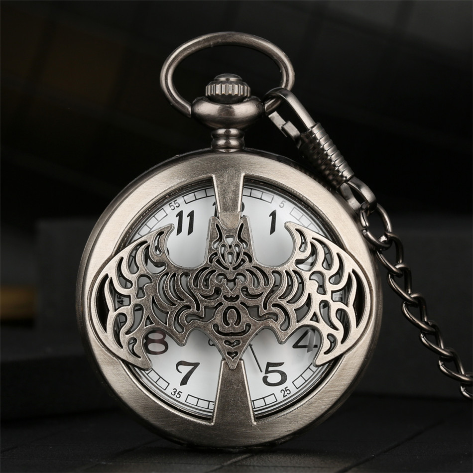 Batman Theme Quartz Theme Quartz Pocket Watch Cool Boys Xmas Gifts Retro Punk Pocket Clock Chain Hot Sale Pendant Watches