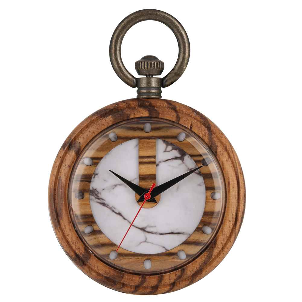 Casual Wooden Quartz Pocket Watch For Lady Special Marbling Pattern Dial Watches For Women Detachable Alloy Rough Chain Pendant