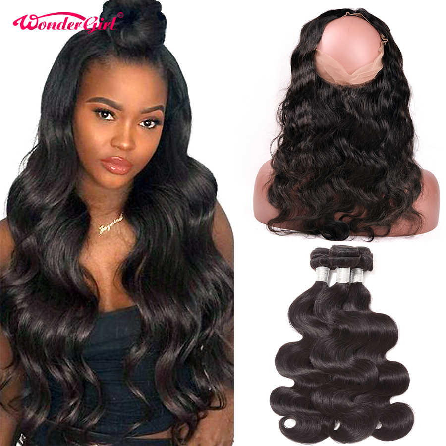 Pre Plucked 360 Lace Frontal With Bundle Peruvian Body Wave 3 Bundles With Frontal Remy Human Hair Bundles With Closure