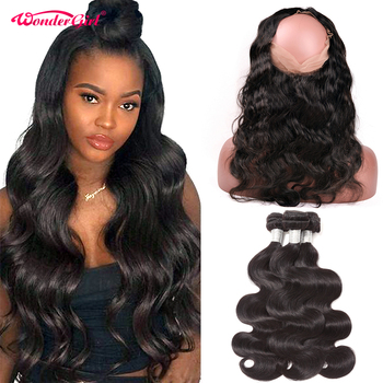 Pre Plucked 360 Lace Frontal With Bundle Peruvian Body Wave 3 Bundles With Frontal Remy Human Hair Bundles With Closure image
