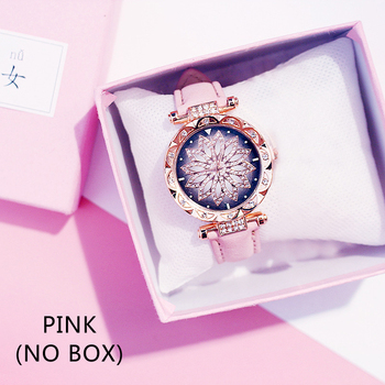 Casual Women Romantic Starry Sky Wrist Watch bracelet Leather Rhinestone Designer Ladies Clock Simple Dress Gfit Montre Femm - Pink