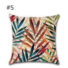 Pillow Tropical Plants Green Leaves Flower Decorative Beige Linen Cushion Pillow цены
