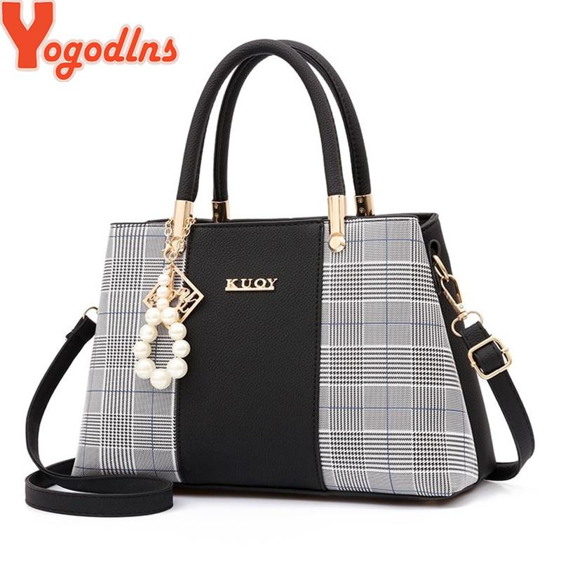 Yogodlns PU Leather Large Capacity Woman Handbag Grid Shoulder Bag Fashion Casual Luxury Designer Patchwork Crossbody Pack