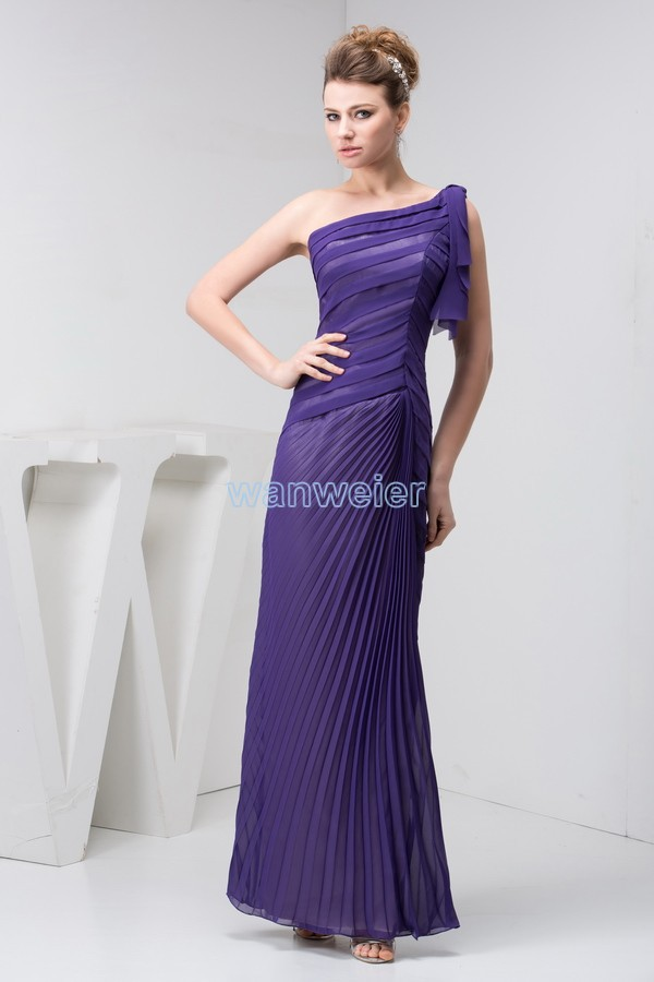 Free Shipping 2016 Design New Arrival One Shoulder Hot Seller Custom Pleat Evening Gown Luxury Real Photo Purple Evening Dress