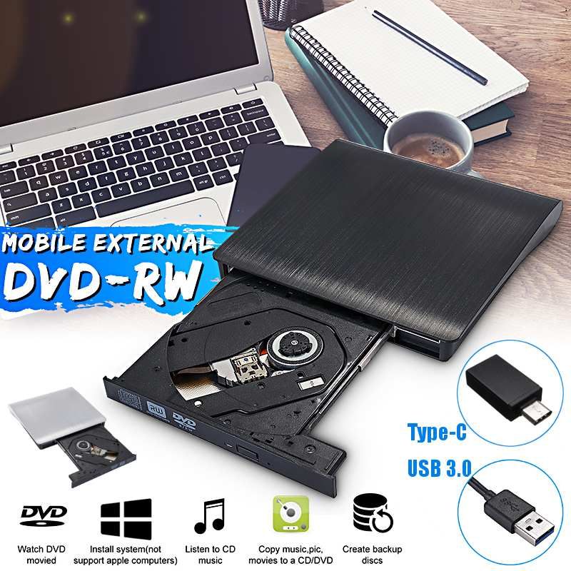 External DVD RW CD Writer Drive Type-C USB 3.0 Optical Drives Slim Combo Drive Burner Reader Player For Laptop PC image