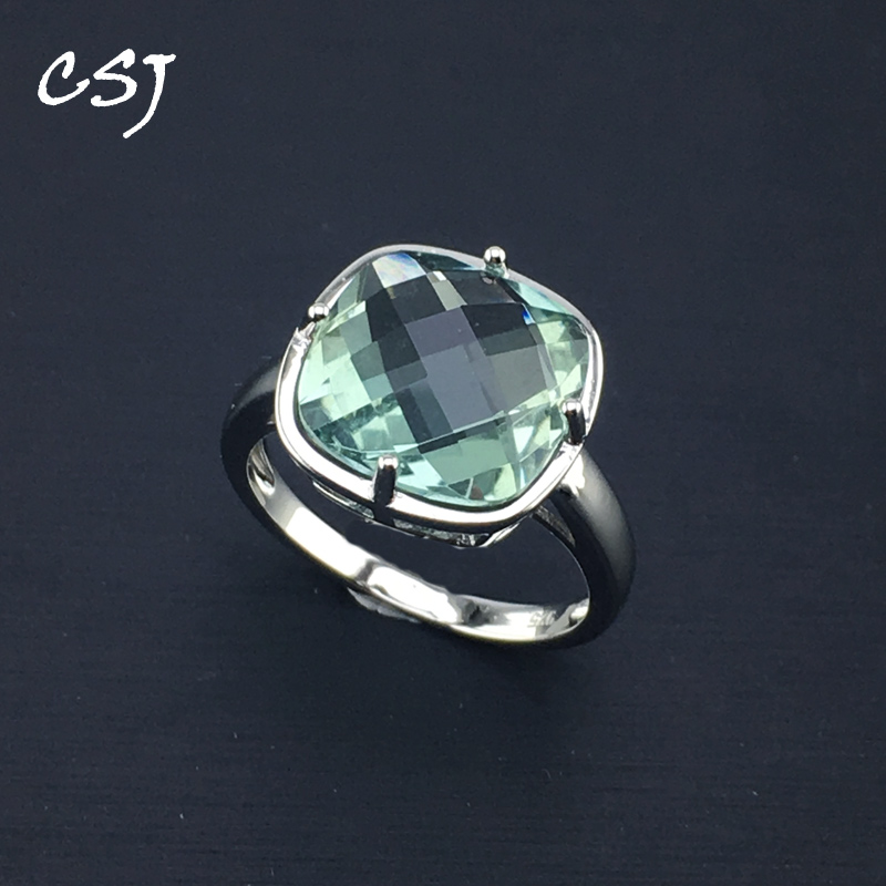 CSJ Green Amethyst Rings Sterling 925 Silver Natural Gemstone Cushion 12mm Women Lady Wedding Engagment Party Gift Box