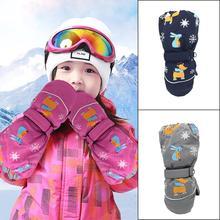 Детские лыжные перчатки, ветрозащитные и водонепроницаемые трехслойные теплые перчатки, зимние теплые перчатки, милые лосиные перчатки