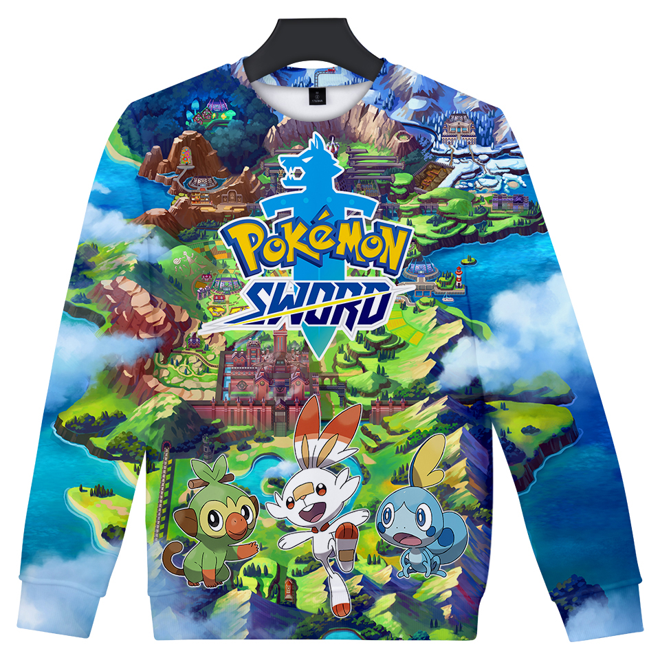 Pokemon Sword and Shield unisex Round Neck Sweatshirt Fashion Trend Style New 3D Polyester  Material Sweatshirt