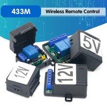 433M האלחוטי אוניברסלי מתג חשמלי בקרת גישה DC 5V 12V 1 דרך 2 דרך ממסר מקלט מודול + משדר