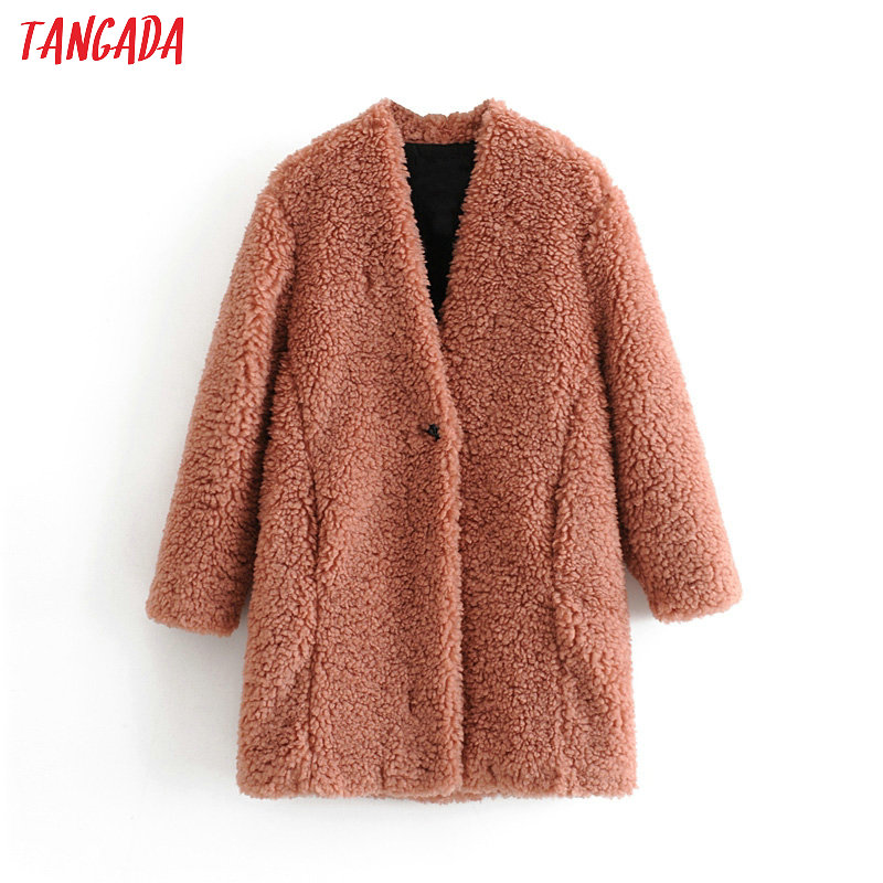 Tangada women pink long teddy coat warm thick 2019 winter female chic coat ladies pockets vintage outwear 3H131 on AliExpress - 11.11_Double 11_Singles' Day