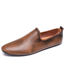 Moccasins Slip-On-Shoes Men Loafers Casual Suede Breathable Sizes Fashion Blue Black