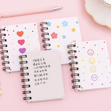 1pcs/lot Small Fresh Flower Rollover Coil A7 Notebook Paper Notepad Diary Writting Paper School Supplies Stationery 1pcs lot small green tree series small coil diary notebook stationery sketchbook school offices supplies