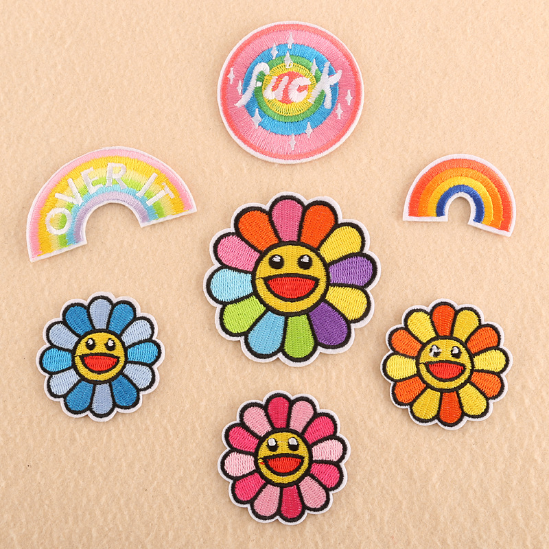 Rainbow Patch For Clothing Iron On Embroidered Sewing Applique Cute Sew On Fabric Sun Flowers Badge DIY Apparel Accessories @G
