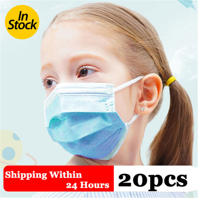 20PCS Mask Mouth And Flu-proof Medical Masks For Children Anti Dust Mask Mouth Face Mask Within 48 Hours Fast Shipping In Stock
