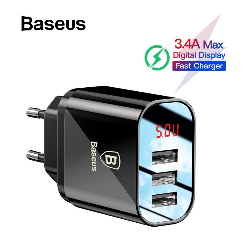 Cargador USB de carga de pantalla Digital Baseus para Samsung Xiaomi cargador de teléfono 3.4A cargador rápido máximo para adaptador de cargador de iPhone
