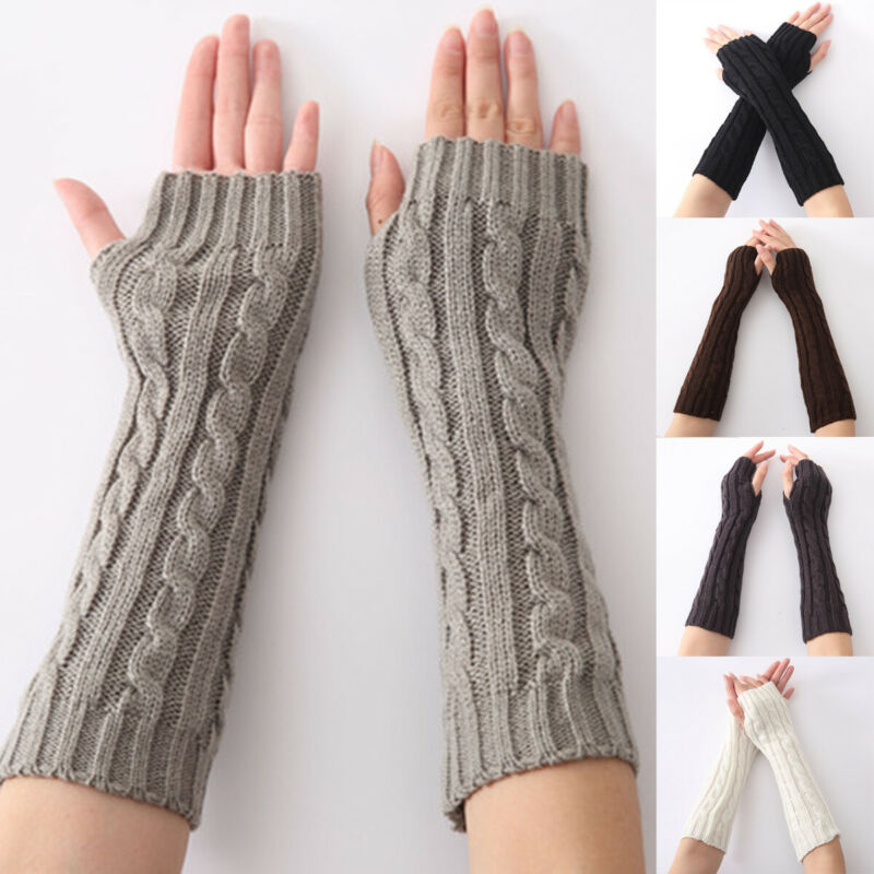 Winter Women Warmer Mitten Long Knitted Arm Wrist Hand Warm Fingerless Gloves