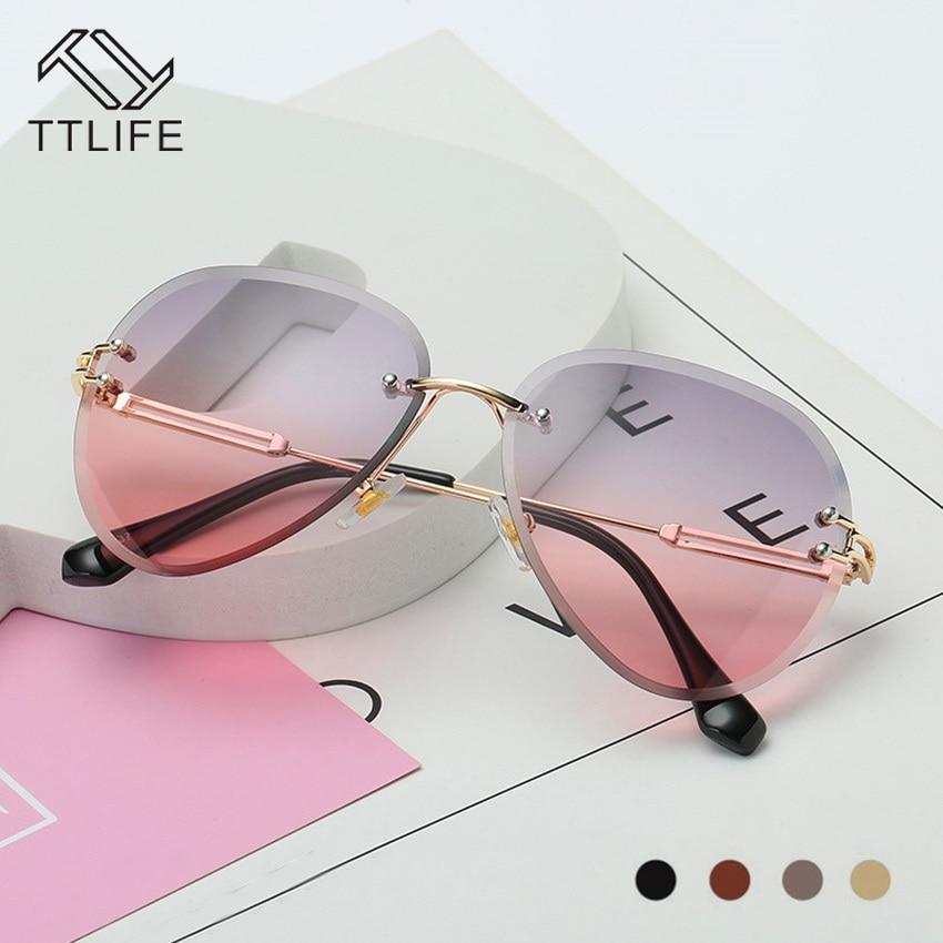 Women Sunglasses Cut-Clips Lenses Metal Frames Gradient Multi-Color Round Pink Marine