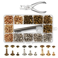HHO 300 Sets 3 Sizes Leather Rivets Double Cap Rivet Buttons Press Studs with Pliers and 3 Pieces Fixing Set Tools for Rivets Re|Garment Rivets| |  -
