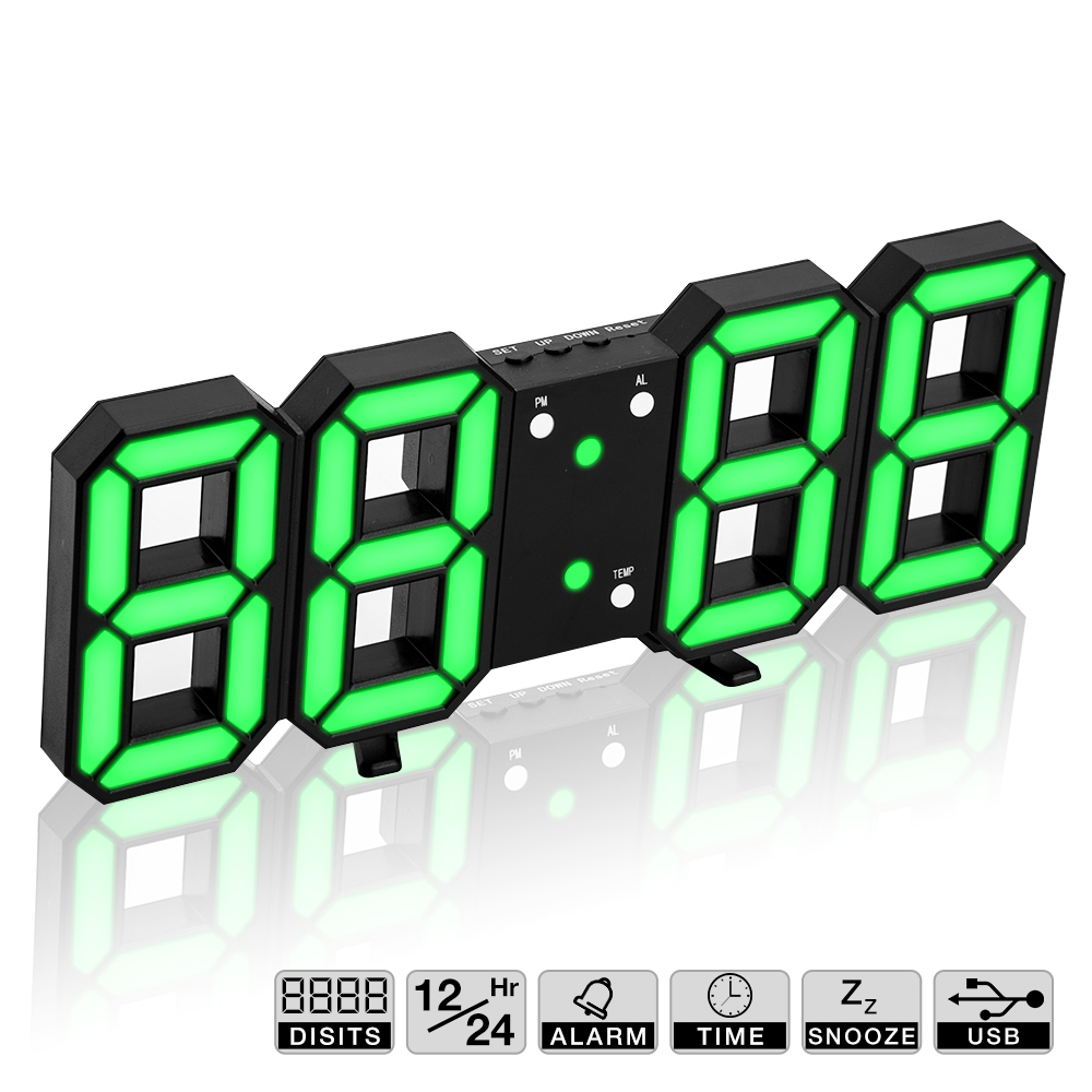 Hot! 3D LED Wall Clock Modern Digital Wall Table Clock Watch Desktop Alarm Clock Nightlight Saat Wall Clock For Home Living Room image