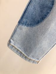 Hohe 2020 Neue Landebahn Mode Denim Patchwork Anzüge Frauen Drehen unten Kragen Mit Langen Ärmeln Jacke + Lange Hohe Taille Hosen licht Blau