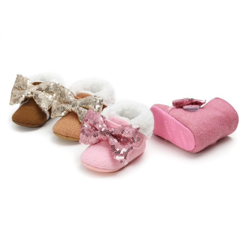2019 Autumn Winter New Infant Baby Girl Boot Casual Sequin Leather Comfortable Warm Big Bowknot Princess Shoes+Headwear Headband