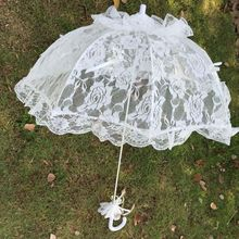 Bridal Lace Hollow Umbrella Wedding Decoration Photo Props Rose Long Handle Umbrellas