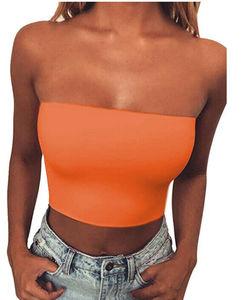 Image 5 - Chemisier Bandeau, haut court pour femmes, sans bretelles, soutien gorge élastique, épaules dénudées, collection bustier tubulaire
